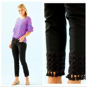 Lilly Pulitzer South Ocean Skinny Crop With Lace